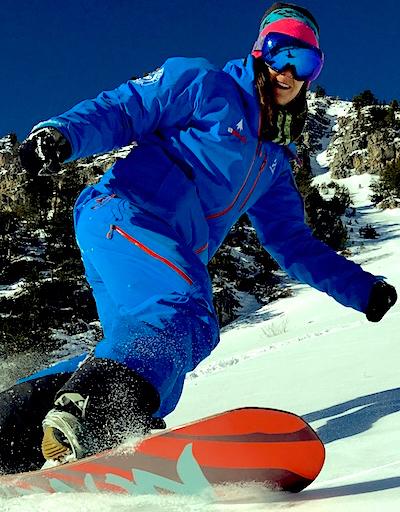 Anne monitrice de snowboard